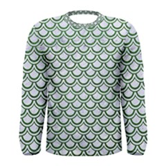 Scales2 White Marble & Green Leather (r) Men s Long Sleeve Tee