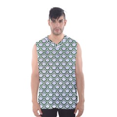 Scales2 White Marble & Green Leather (r) Men s Basketball Tank Top