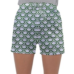 Scales2 White Marble & Green Leather (r) Sleepwear Shorts