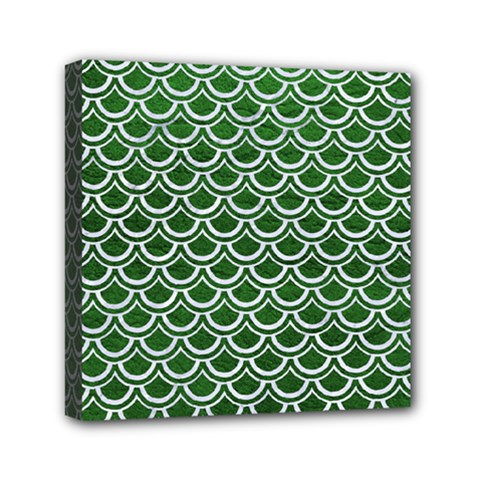 Scales2 White Marble & Green Leather Mini Canvas 6  X 6