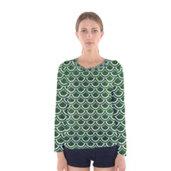 Scales2 White Marble & Green Leather Women s Long Sleeve Tee