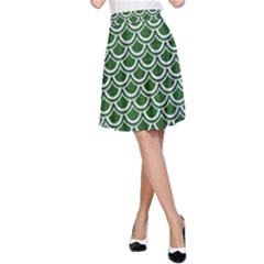 Scales2 White Marble & Green Leather A Line Skirt