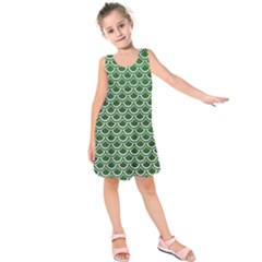 Scales2 White Marble & Green Leather Kids  Sleeveless Dress
