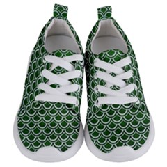 Scales2 White Marble & Green Leather Kids  Lightweight Sports Shoes