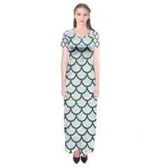 Scales1 White Marble & Green Leather (r) Short Sleeve Maxi Dress