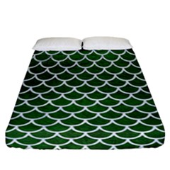 Scales1 White Marble & Green Leather Fitted Sheet (california King Size)