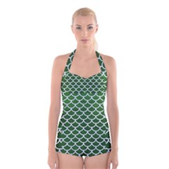 Scales1 White Marble & Green Leather Boyleg Halter Swimsuit