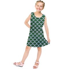 Scales1 White Marble & Green Leather Kids  Tunic Dress