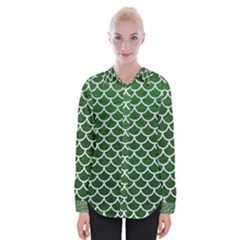 Scales1 White Marble & Green Leather Womens Long Sleeve Shirt