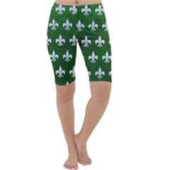 Royal1 White Marble & Green Leather (r) Cropped Leggings