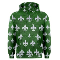Royal1 White Marble & Green Leather (r) Men s Pullover Hoodie