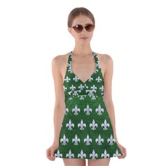 Royal1 White Marble & Green Leather (r) Halter Dress Swimsuit