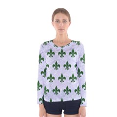 Royal1 White Marble & Green Leather Women s Long Sleeve Tee
