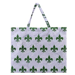 Royal1 White Marble & Green Leather Zipper Large Tote Bag