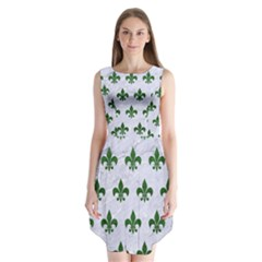 Royal1 White Marble & Green Leather Sleeveless Chiffon Dress