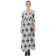 Royal1 White Marble & Green Leather Button Up Boho Maxi Dress