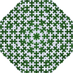 Puzzle1 White Marble & Green Leather Straight Umbrellas