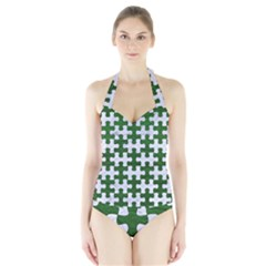 Puzzle1 White Marble & Green Leather Halter Swimsuit
