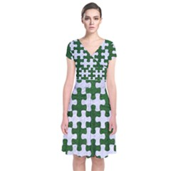 Puzzle1 White Marble & Green Leather Short Sleeve Front Wrap Dress