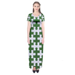 Puzzle1 White Marble & Green Leather Short Sleeve Maxi Dress