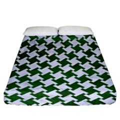 Houndstooth2 White Marble & Green Leather Fitted Sheet (california King Size)