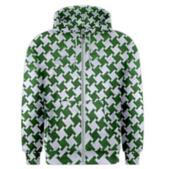 Houndstooth2 White Marble & Green Leather Men s Zipper Hoodie