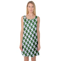 Houndstooth2 White Marble & Green Leather Sleeveless Satin Nightdress