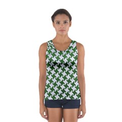 Houndstooth2 White Marble & Green Leather Sport Tank Top