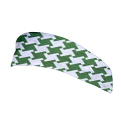 Houndstooth2 White Marble & Green Leather Stretchable Headband