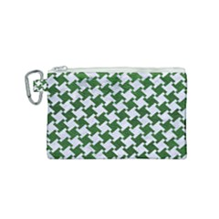 Houndstooth2 White Marble & Green Leather Canvas Cosmetic Bag (small) by trendistuff