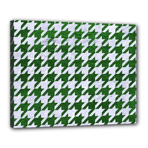 Houndstooth1 White Marble & Green Leather Canvas 20  X 16