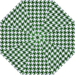 Houndstooth1 White Marble & Green Leather Folding Umbrellas