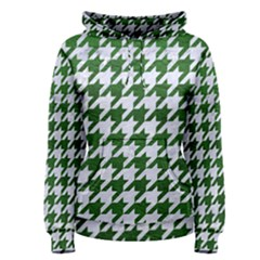 Houndstooth1 White Marble & Green Leather Women s Pullover Hoodie