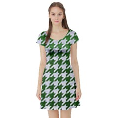 Houndstooth1 White Marble & Green Leather Short Sleeve Skater Dress