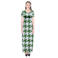 Houndstooth1 White Marble & Green Leather Short Sleeve Maxi Dress
