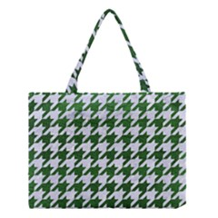 Houndstooth1 White Marble & Green Leather Medium Tote Bag
