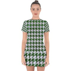 Houndstooth1 White Marble & Green Leather Drop Hem Mini Chiffon Dress
