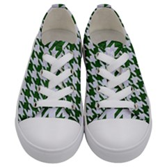 Houndstooth1 White Marble & Green Leather Kids  Low Top Canvas Sneakers