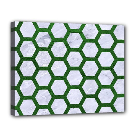 Hexagon2 White Marble & Green Leather (r) Canvas 14  X 11