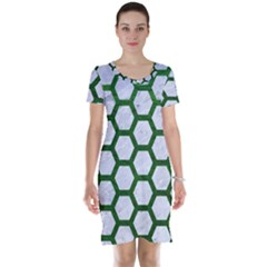 Hexagon2 White Marble & Green Leather (r) Short Sleeve Nightdress