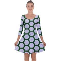 Hexagon2 White Marble & Green Leather (r) Quarter Sleeve Skater Dress
