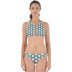 Hexagon2 White Marble & Green Leather (r) Perfectly Cut Out Bikini Set