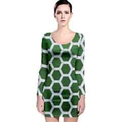 Hexagon2 White Marble & Green Leather Long Sleeve Bodycon Dress