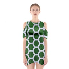 Hexagon2 White Marble & Green Leather Shoulder Cutout One Piece