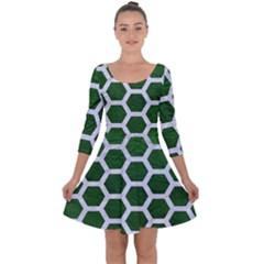 Hexagon2 White Marble & Green Leather Quarter Sleeve Skater Dress