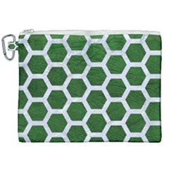 Hexagon2 White Marble & Green Leather Canvas Cosmetic Bag (xxl) by trendistuff