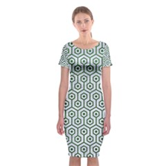 Hexagon1 White Marble & Green Leather (r) Classic Short Sleeve Midi Dress by trendistuff