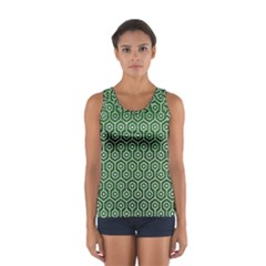 Hexagon1 White Marble & Green Leather Sport Tank Top