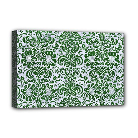 Damask2 White Marble & Green Leather (r) Deluxe Canvas 18  X 12