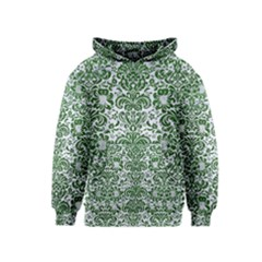 Damask2 White Marble & Green Leather (r) Kids  Pullover Hoodie